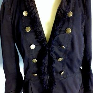 Loft navy blue military Fringe Blazer jacket